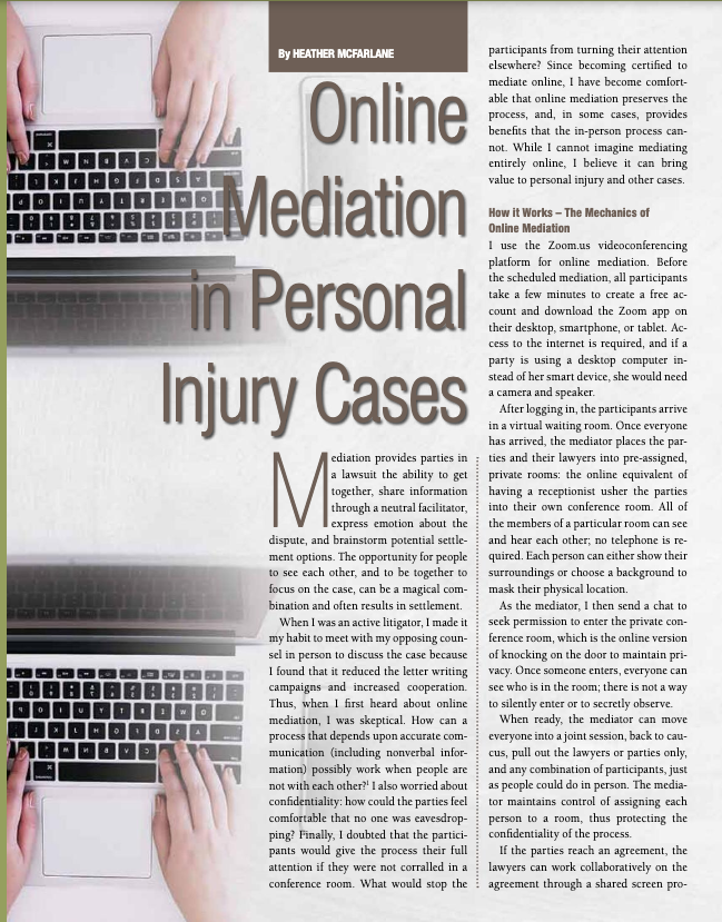 Online Mediation in Personal Injury Cases